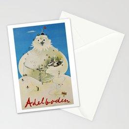 Vintage Adelboden Switzerland Travel Poster - Snowman Stationery Cards