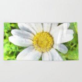 Radiant Daisy Watercolor Beach Towel