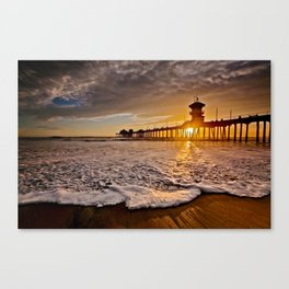 Surf City Sunsets -  Sunset At The Huntington Beach Pier 3/4/16 Canvas Print