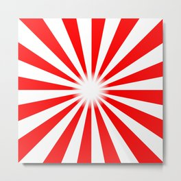 Red And White Bright Ray Background Metal Print