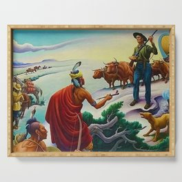 Classical Masterpiece 'American West from Native Americans Perspective' by Thomas Hart Benton Serving Tray