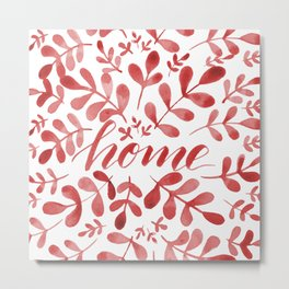 Watercolor home foliage – red Metal Print