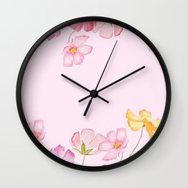 colorful cosmos flwoer in pink background Wall Clock