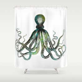 Octopus marine life watercolor art Shower Curtain