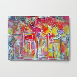 Orange Neon Houses Metal Print