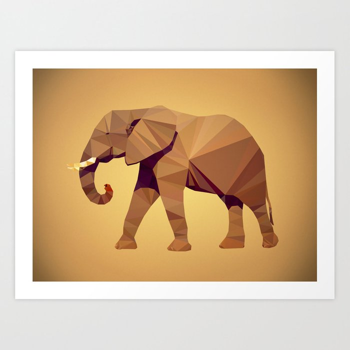 Triangular Elephant Art Print