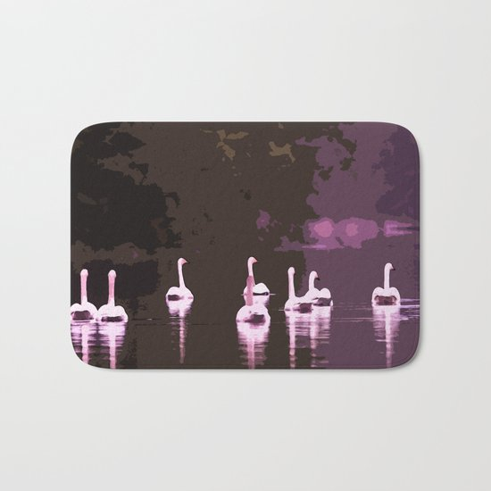 Beautiful reflection in the lake surface - shades of light pink to dark Bath Mat