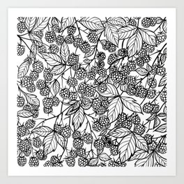 Raspberries hand drawn pattern Art Print