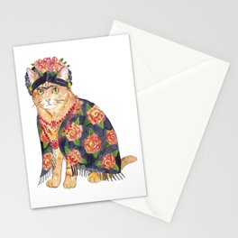 Frida Kahlo cat with flower wreath Painting Wall Poster Watercolor Art Colorful Decor Print Pet Drawing portrait gig funny room nursery Stationery Cards