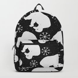 Polar Bears and Snowflakes - black Backpack