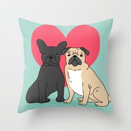 Pug French Bulldog valentine love cute gift for dog person hearts pastel mint kids children puppy Throw Pillow