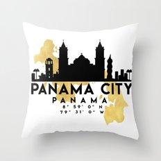 PANAMA CITY PANAMA SILHOUETTE SKYLINE MAP ART Throw Pillow