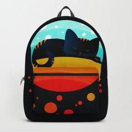 054 Sleepy kitty over the rainbow holding an owl on its tail Backpack