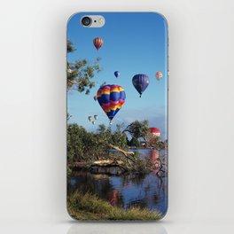 Hot air balloons over lake iPhone Skin