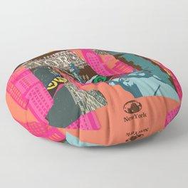Mews in NewYork (Typography) Floor Pillow