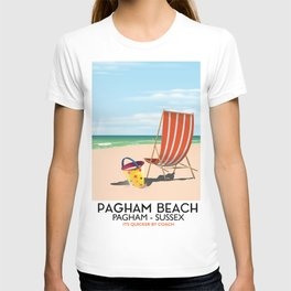 Pagham Beach West Sussex travel poster, T-shirt