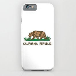 California Republic Bear with Marijuana Plants iPhone Case