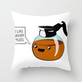 I like warm mugs Throw Pillow