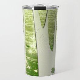 Glittery Green Ocean Dripping On Cream Textured Wall Travel Mug