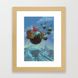 christmas pudding santa ride Framed Art Print