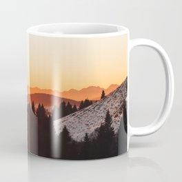 Red Orange Sunrise Parallax Mountains Pine tree Silhouette Minimalist Photo Coffee Mug