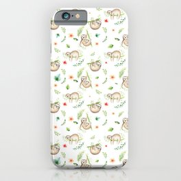 Modern green pink brown watercolor sloth floral pattern iPhone Case