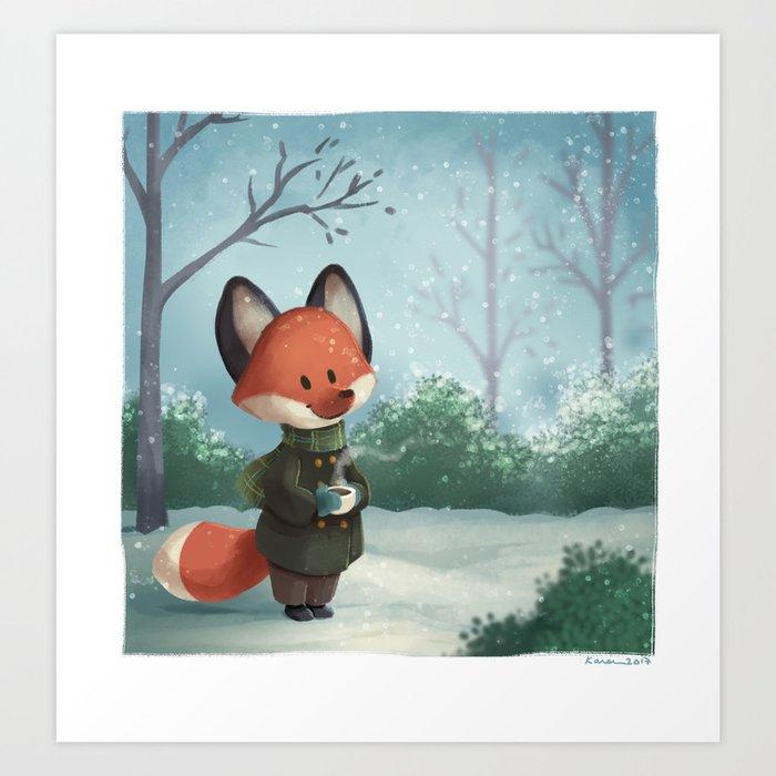 Fox in Winter Art Print
