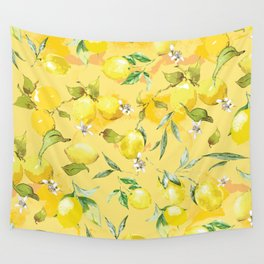 Watercolor lemons 5 Wall Tapestry