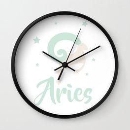 Aries March 21 - April 19 - Fire sign - Zodiac symbols Wall Clock