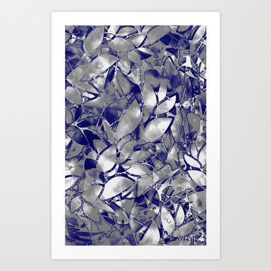 Grunge Art Silver Floral Abstract G169 Art Print
