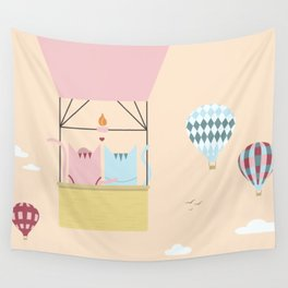 Traveling Tabbies: Hot Air Balloon Wall Tapestry