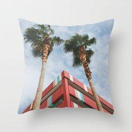 Las Vegas Palm Trees and Vintage Design Throw Pillow