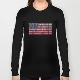 """Old Glory"" on wood planks Long Sleeve T-shirt"