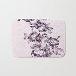 grandma's rose garden vintage purple rose pink Bath Mat