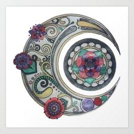 Spiral floral moon Art Print