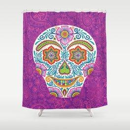 Flower Power Skully Shower Curtain