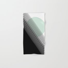 Rising Sun Minimal Japanese Abstract White Black Mint Green Hand & Bath Towel
