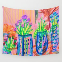 Flowers at Dawn Wall Tapestry