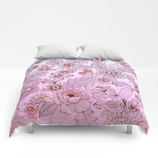 floral in soft pink and blue Comforters