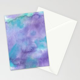 Violet Purple Teal Green Abstract Watercolor Stationery Cards