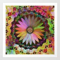 Tropical Daisy Kaleidoscope Art Print