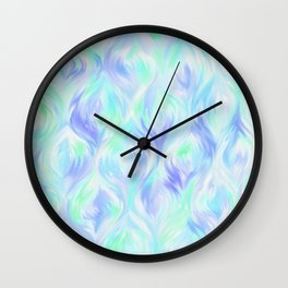 Preppy Blue Watercolor Abstract Ripples Wall Clock