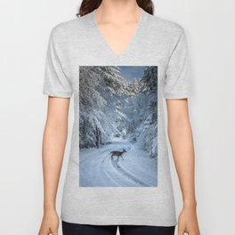 Winter Wildlife III - Deer Fawn Forest Adventure Nature Photography Unisex V-Neck