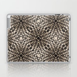 Black and Tan Geometric Modern Chrysanthemum Pattern Laptop & iPad Skin