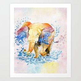 Baby Elephant Watercolor Art Print