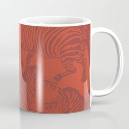 Zebra Stampede in Rust Red Coffee Mug