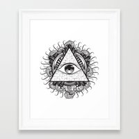 all seeing eye Framed Art Prints featuring All Seeing Eye by E1 illustration