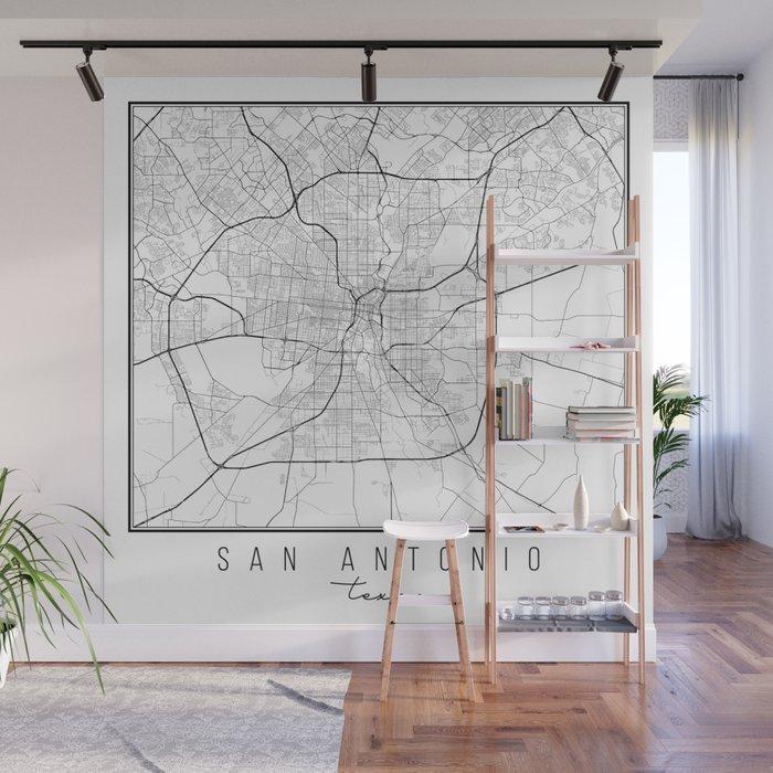 San Antonio Texas Street Map Wall Mural by typologiepaperco