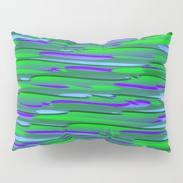 Horizontal vivid curved stripes with imitation of the bark of a green tree trunk. Pillow Sham