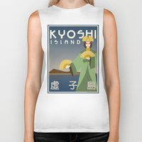 travel poster Biker Tanks featuring Kyoshi Island Travel Poster by HenryConradTaylor